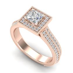 1.41 CTW Princess VS/SI Diamond Solitaire Micro Pave Ring 18K Rose Gold - REF-200Y2N - 37179