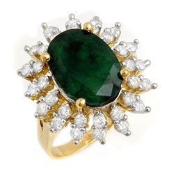 6.45 CTW Emerald & Diamond Ring 14K Yellow Gold - REF-116R5K - 13288