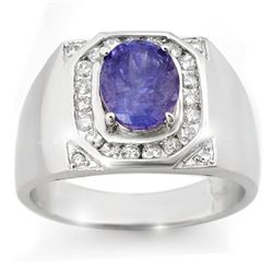 3.10 CTW Tanzanite & Diamond Mens Ring 14K White Gold - REF-119Y5N - 14465
