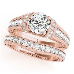 1.86 CTW Certified VS/SI Diamond Solitaire 2Pc Wedding Set Antique 14K Rose Gold - REF-412X8T - 3155