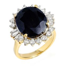 14.02 CTW Blue Sapphire & Diamond Ring 14K Yellow Gold - REF-125H6W - 12861
