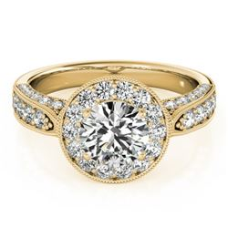 2 CTW Certified VS/SI Diamond Solitaire Halo Ring 18K Yellow Gold - REF-435H3W - 27044