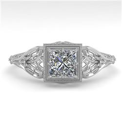 0.50 CTW VS/SI Princess Diamond Solitaire Engagement Ring Deco 18K White Gold - REF-113Y8N - 36024