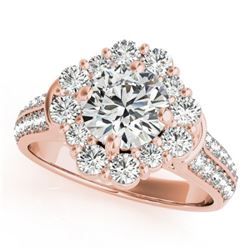 2.16 CTW Certified VS/SI Diamond Solitaire Halo Ring 18K Rose Gold - REF-440X5T - 26710