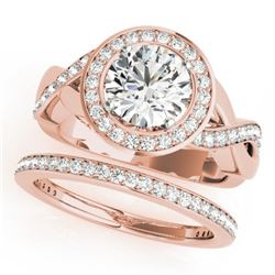 1.84 CTW Certified VS/SI Diamond 2Pc Wedding Set Solitaire Halo 14K Rose Gold - REF-258R2K - 30640