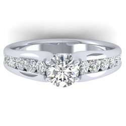 1.37 CTW Certified VS/SI Diamond Solitaire Ring 14K White Gold - REF-203F3M - 30414