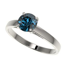 1 CTW Certified Intense Blue SI Diamond Solitaire Engagement Ring 10K White Gold - REF-140R4K - 3298