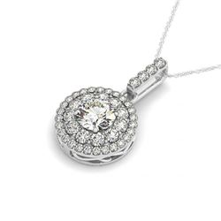 2.1 CTW Certified VS/SI Diamond Solitaire Halo Necklace 14K White Gold - REF-394W9H - 29919