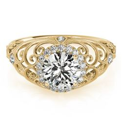 1.22 CTW Certified VS/SI Diamond Solitaire Halo Ring 18K Yellow Gold - REF-387N5Y - 26556