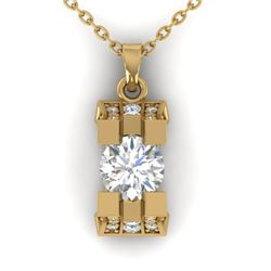 1.15 CTW Certified VS/SI Diamond Art Deco Stud Necklace 14K Yellow Gold - REF-123M3F - 30293