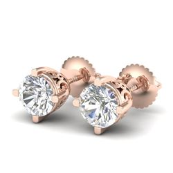 1.5 CTW VS/SI Diamond Solitaire Art Deco Stud Earrings 18K Rose Gold - REF-318M2F - 37230