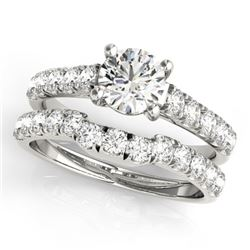 1.39 CTW Certified VS/SI Diamond 2Pc Set Solitaire Wedding 14K White Gold - REF-215R5K - 32087