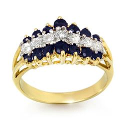 1.02 CTW Blue Sapphire & Diamond Ring 10K Yellow Gold - REF-27H3W - 12326