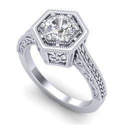 0.77 CTW VS/SI Diamond Art Deco Ring 18K White Gold - REF-218K2R - 36896