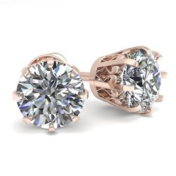 2.0 CTW VS/SI Diamond Stud Solitaire Earrings 18K Rose Gold - REF-490N4Y - 35684