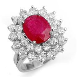 8.0 CTW Ruby & Diamond Ring 18K White Gold - REF-253F3M - 13271