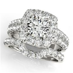 2.51 CTW Certified VS/SI Diamond 2Pc Wedding Set Solitaire Halo 14K White Gold - REF-295M3F - 30888