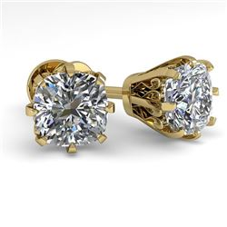 1.0 CTW VS/SI Cushion Cut Diamond Stud Solitaire Earrings 18K Yellow Gold - REF-156K4R - 35677