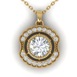1.02 CTW Certified VS/SI Diamond Art Deco Necklace 14K Yellow Gold - REF-177F3M - 30545