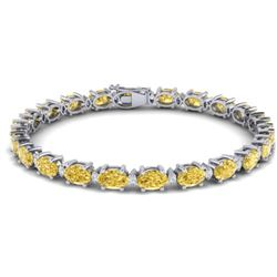 19.7 CTW Citrine & VS/SI Certified Diamond Eternity Bracelet 10K White Gold - REF-98R2K - 29363