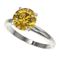 2.50 CTW Certified Intense Yellow SI Diamond Solitaire Ring 10K White Gold - REF-836W4H - 32950