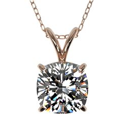 1.25 CTW Certified VS/SI Quality Cushion Cut Diamond Necklace 10K Rose Gold - REF-367W3H - 33218