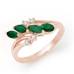 0.40 CTW Emerald & Diamond Ring 18K Rose Gold - REF-38H4W - 13084