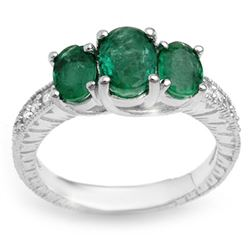 2.50 CTW Emerald & Diamond Ring 14K White Gold - REF-54T5X - 10771