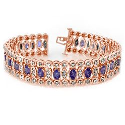17.50 CTW Tanzanite & Diamond Bracelet 14K Rose Gold - REF-445M3F - 11196