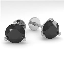 2.0 CTW Black Certified Diamond Stud Earrings Martini 18K White Gold - REF-68T2X - 32220