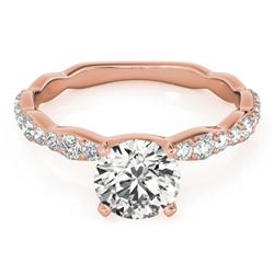 1.4 CTW Certified VS/SI Diamond Solitaire Ring 18K Rose Gold - REF-361H5W - 27478