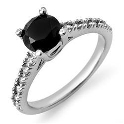 1.72 CTW Vs Certified Black & White Diamond Ring 14K White Gold - REF-79W6H - 11822