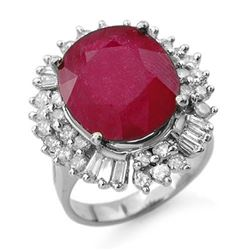 10.65 CTW Ruby & Diamond Ring 18K White Gold - REF-272N8Y - 13196