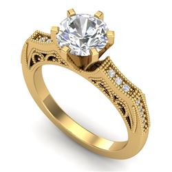 1.51 CTW VS/SI Diamond Solitaire Art Deco Ring 18K Yellow Gold - REF-536T4X - 37078