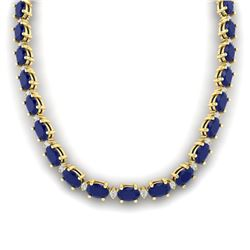 71.85 CTW Sapphire & VS/SI Certified Diamond Eternity Necklace 10K Yellow Gold - REF-563K6R - 29518