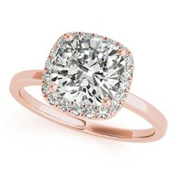 0.62 CTW Certified VS/SI Cushion Diamond Solitaire Halo Ring 18K Rose Gold - REF-140M4F - 27214