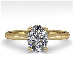 1.01 CTW Oval Cut VS/SI Diamond Engagement Designer Ring 18K Yellow Gold - REF-282X6T - 32410