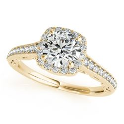 0.90 CTW Certified VS/SI Diamond Solitaire Halo Ring 18K Yellow Gold - REF-137M3F - 26544