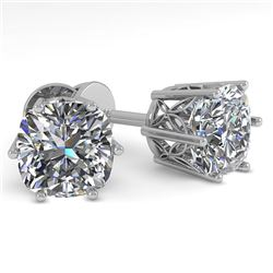 1.0 CTW VS/SI Cushion Cut Diamond Stud Solitaire Earrings 18K White Gold - REF-178F2M - 35832