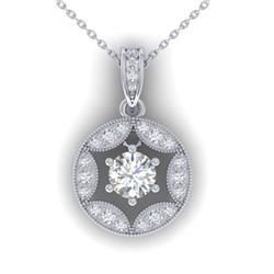 1.5 CTW Certified VS/SI Diamond Art Deco Stud Necklace 14K White Gold - REF-363H3W - 30453