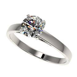 0.97 CTW Certified H-SI/I Quality Diamond Solitaire Engagement Ring 10K White Gold - REF-140M2F - 36