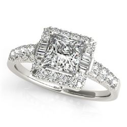 1.65 CTW Certified VS/SI Princess Diamond Solitaire Halo Ring 18K White Gold - REF-450T4X - 27192