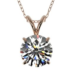 1.50 CTW Certified H-SI/I Quality Diamond Solitaire Necklace 10K Rose Gold - REF-314W2H - 33221