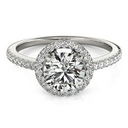 0.90 CTW Certified VS/SI Diamond Solitaire Halo Ring 18K White Gold - REF-132R4K - 26811