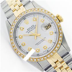 Rolex Ladies Two Tone 14K Gold/ss, Diamond Dial & Diamond Bezel, Saph Crystal - REF-363A3N