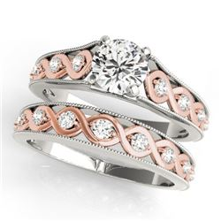 0.92 CTW Certified VS/SI Diamond Solitaire 2Pc Set 14K White & Rose Gold - REF-138T2X - 31660