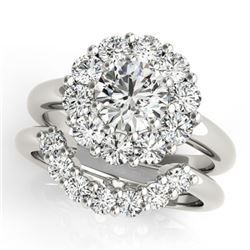 2.59 CTW Certified VS/SI Diamond 2Pc Wedding Set Solitaire Halo 14K White Gold - REF-453K3R - 31274