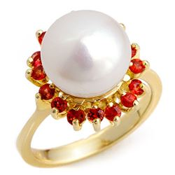 0.75 CTW Red Sapphire Ring 10K Yellow Gold - REF-28H4W - 10358