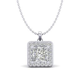 1.93 CTW Princess VS/SI Diamond Solitaire Micro Pave Necklace 18K White Gold - REF-436M4F - 37172