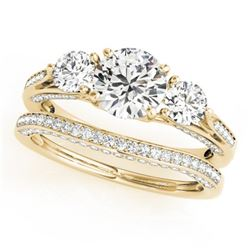 2.05 CTW Certified VS/SI Diamond 3 Stone 2Pc Wedding Set 14K Yellow Gold - REF-447K3R - 32023